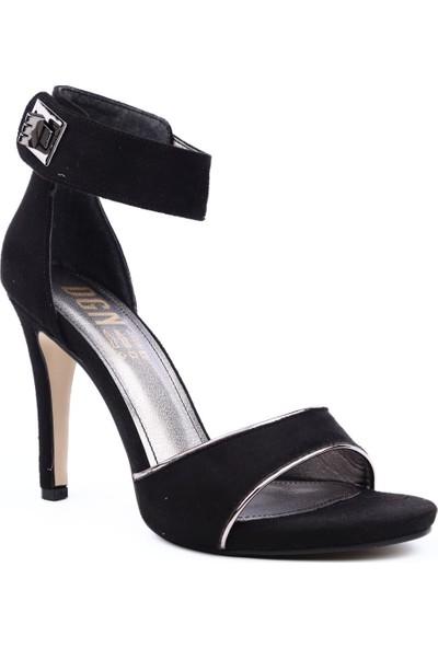 Dgn K300 Kadın Tek Bant Tokalı Bilekten Bağlı Topuklu Ayakkabı Siyah Süet