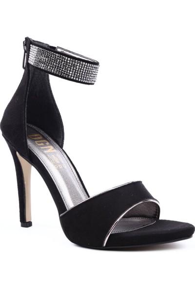 Dgn K301 Kadın Tek Bant Silver Taşlı Bilekten Bağlı Topuklu Ayakkabı Siyah Süet