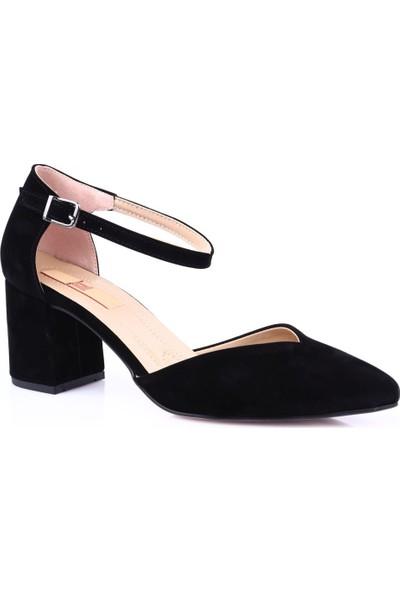 Dgn K705 Sivri Burun V Kesim Dekolteli Bilekten Bağlı Kısa Topuklu Ayakkabı Siyah Süet