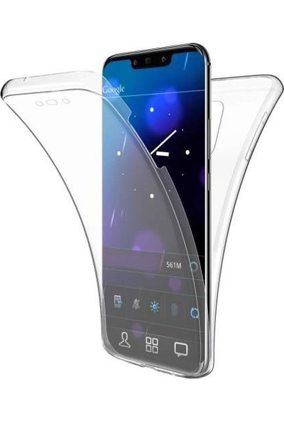 Happyshop Huawei Mate 20 Lite Kılıf Şeffaf 360 Derece Tam Kaplayan Silikon