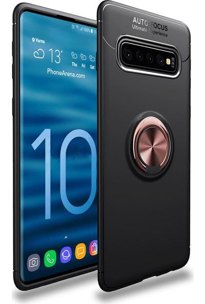 Happyshop Samsung Galaxy S10 E Kılıf Ultra Korumalı Yüzüklü Manyetik Ravel Silikon