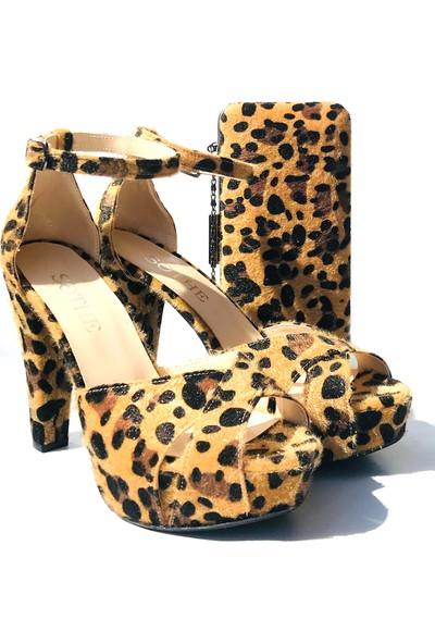 Sothe BA-1025TK Kadın Leopar Platform Topuklu Ayakkabı Çanta Takım