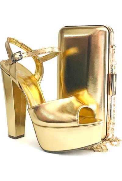 Sothe BA-1027TK Kadın Altın Platform Topuklu Ayakkabı Çanta Takım