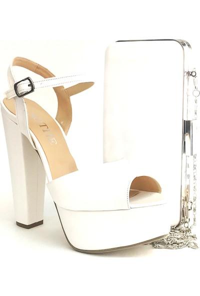 Sothe BA-1027TK Kadın Beyaz Platform Topuklu Ayakkabı Çanta Takım