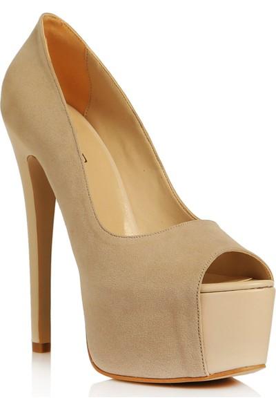 Sothe BA-1036 Kadın Bej Platform Topuklu Ayakkabı