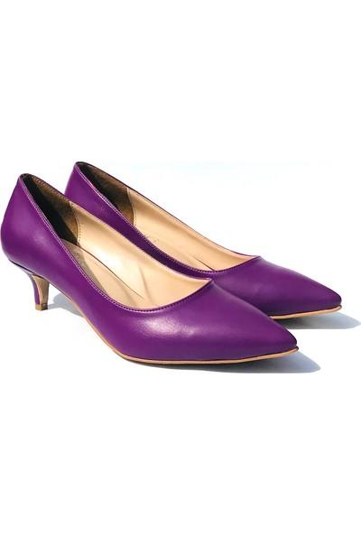 Sothe ELF-1730 Mor Deri Bayan Kısa Topuklu Ayakkabı