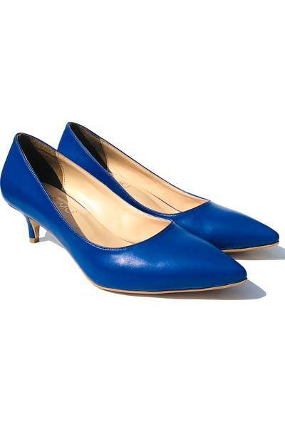 Sothe ELF-1730 Saks Deri Bayan Kısa Topuklu Ayakkabı