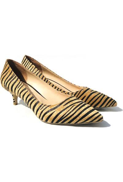 Sothe ELF-1730 Zebra Bayan Kısa Topuklu Ayakkabı