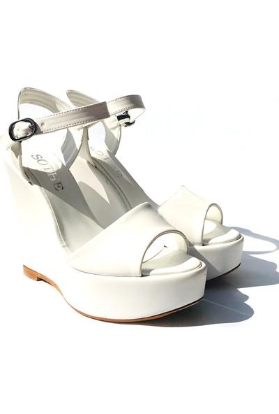 Sothe TB-007 Beyaz Deri Bayan Dolgu Topuklu Ayakkabı