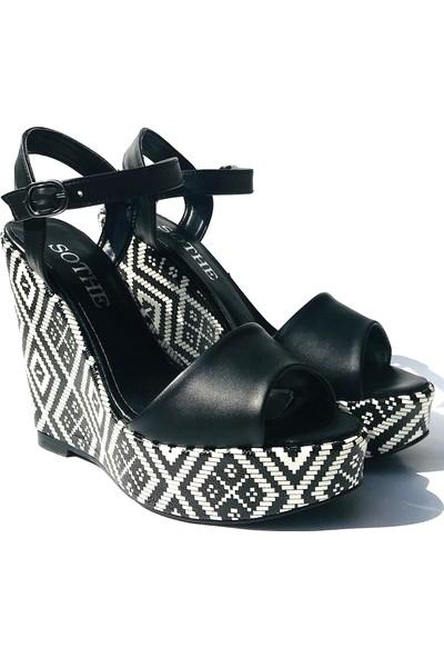 Sothe TB-007 Siyah Beyaz Bayan Dolgu Topuklu Ayakkabı
