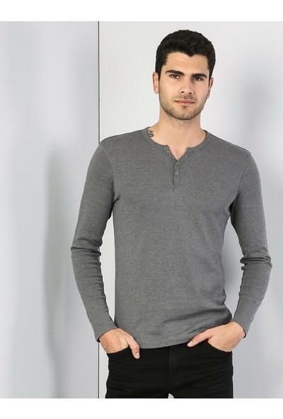 Colins Slim Fit Placket Neck Erkek Antra Melanj Tshirt U.Kol