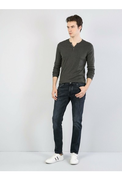 Colins Slim Fit Placket Neck Erkek Haki Tshirt U.Kol