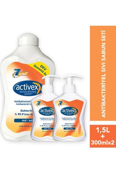 Activex Antibakteriyel Sıvı Sabun Aktif 1.5 lt & 300 ml & 300 ml Fırsat Paketi