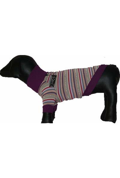 Madam Yorki Boğazlı Çizgili Köpek Sweatshirt