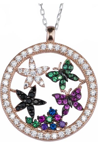 Girabella Kolye Gümüş Halka İçinde Kelebek Yıldız