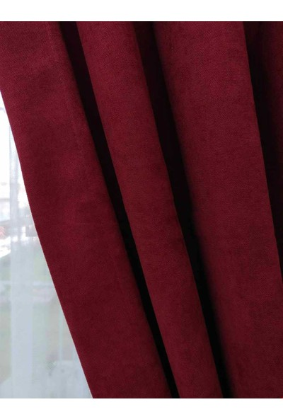 Caserta Home Düz Bordo Orta Sıklıkta Pileli Tek Kanat Fon Perde - Melis Ada V27