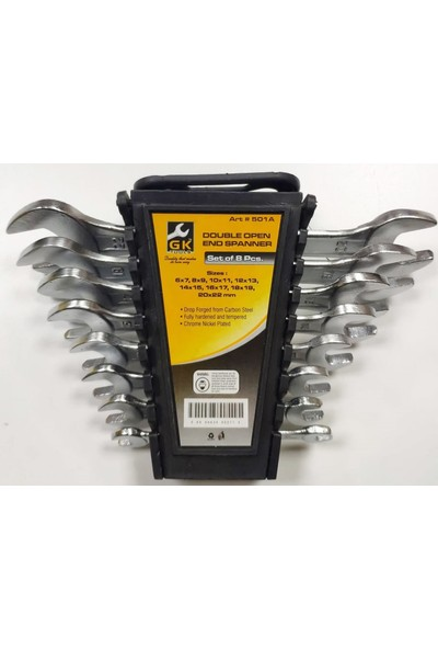 Gk Tools 8'li 2 Ağız Anahtar Takımı Düz Anahtar 6x22 mm