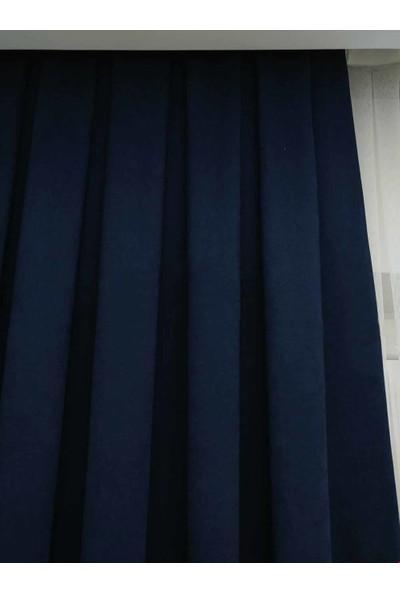 Caserta Home Düz Koyu Lacivert Sık Pileli Tek Kanat Fon Perde - Melis Ada V32