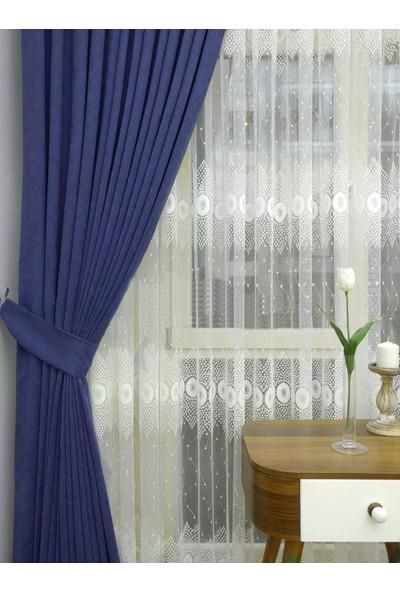 Caserta Home Düz Parlement Mavi Sık Pileli Tek Kanat Fon Perde - Melis Ada V31