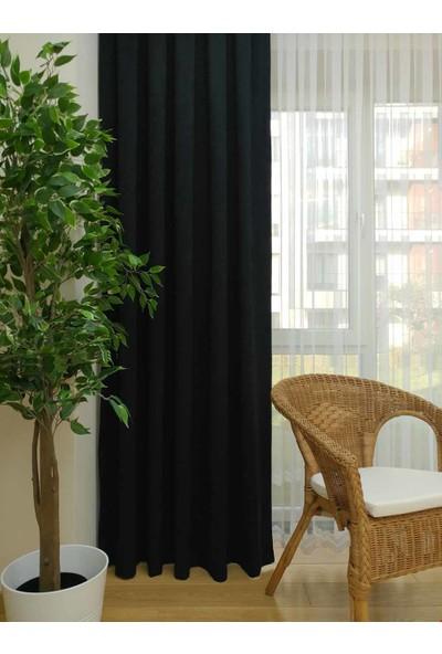 Caserta Home Düz Siyah Orta Sıklıkta Pileli Tek Kanat Fon Perde - Melis Ada V33