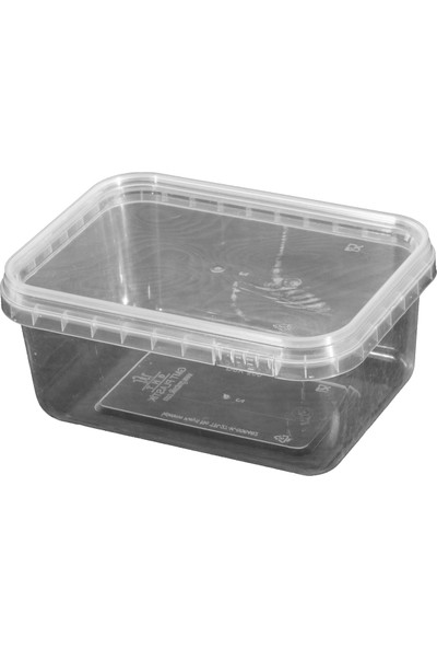 GMT Plastik Kilitli Köşeli Gıda Saklama Kabı 400 ml - 50 Adet