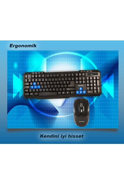 Concord C-50 Wireless Kablosuz Klavye Mouse Set