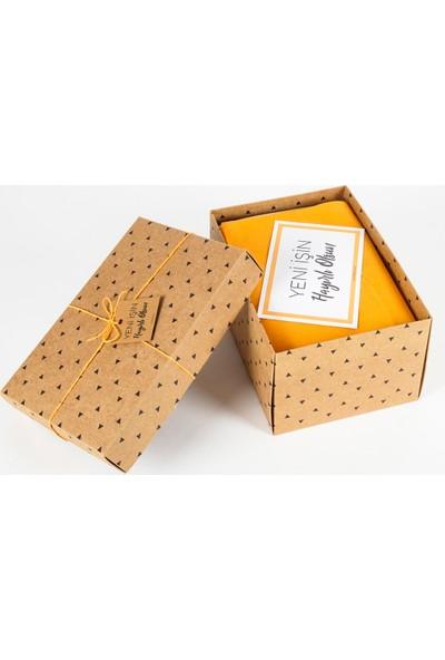 Hepi Kutu Yeni İş Hediye Kutusu - Çaylı - Lacivert Çizgili