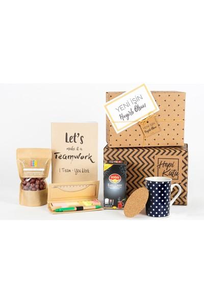 Hepi Kutu Yeni İş Hediye Kutusu - Çaylı - Beyaz Puantiyeli