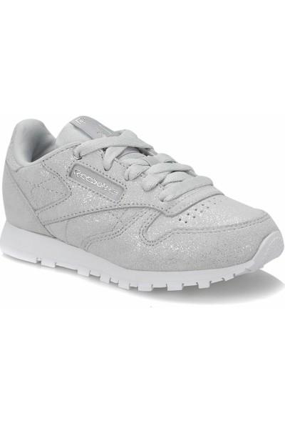 Reebok Classic Leather Metalik Gri Gri Beyaz Kız Çocuk Koşu Ayakkabısı