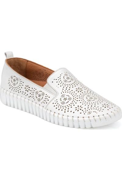 Polaris 91.100810.Z Beyaz Kadın Deri Ayakkabı