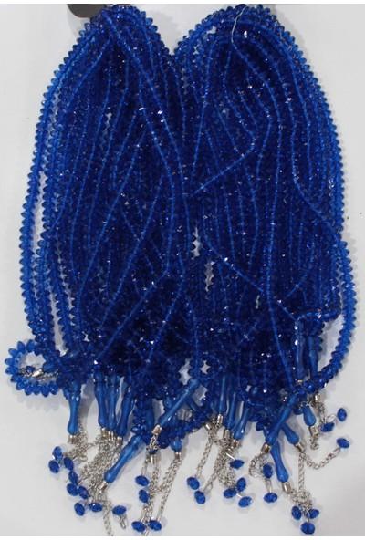 Plastik Kristal Tesbih 99 Lu 4134 (10 Lu) - Saks Mavi