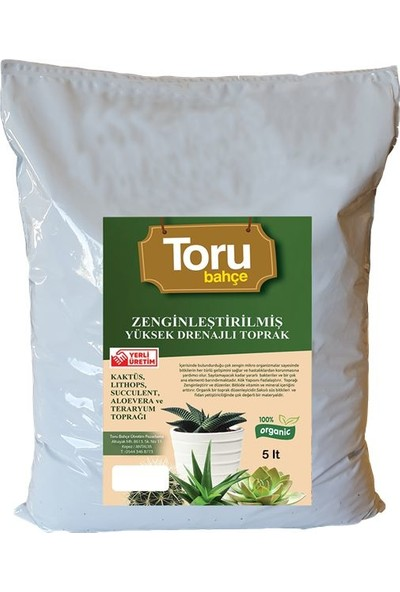 Toru Bahçe Zengınleştırılmış Yüksek Drenajlı Toprak Lıthops, Succulent, Aloevera Ve Teraryum Toprağı