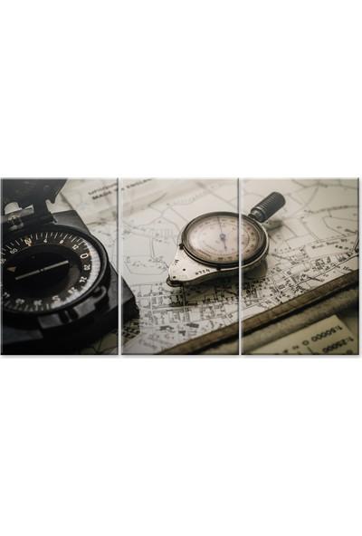 Meteor Galeri Topografya Pusulası Harita Kanvas Tablo