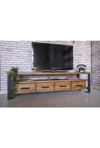 Deryawood Masif Ahşap Çekmeceli Tv Ünitesi 45x180 cm