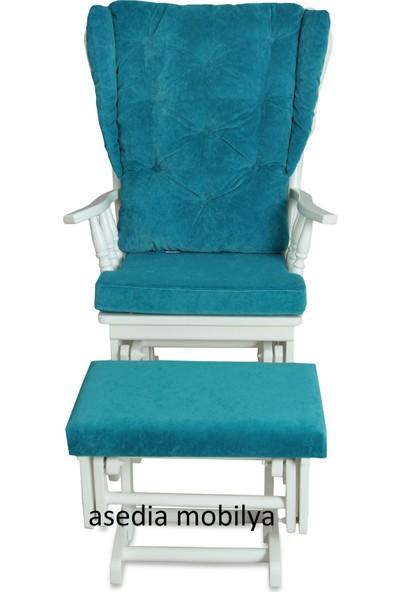 Asedia Teksas Puflu Lake Beyaz-Turkuaz Cam Göbeği Sallanan Sandalye