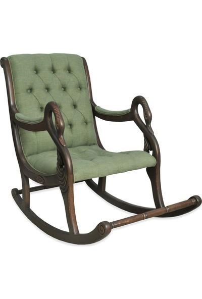 Asedia Teksas Vintage Ceviz-Yeşil Sallanan Sandalye