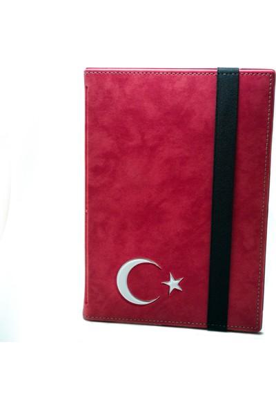 """AksesuarFırsatı Hometech Elite Tab 8 - 8"""" Tablet Dönerli Tablet Kılıfı Kırmızı - Türk Bayrağı"""