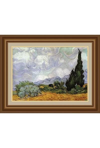 Angora Ac 0692 Vincent Van Gogh Selvi İle Buğday Alan Kanvas Tablo