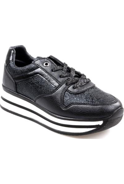 Flet Kadın Yüksek Taban Günlük Siyah Spor Ayakkabı