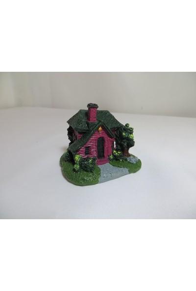 Green Wood Teraryum Malzemeleri Küçük Şato Ev Yeşil Minyatür Obje