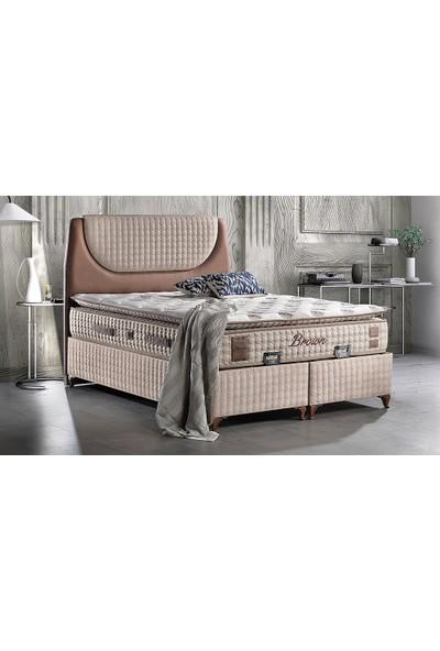 Yıldız Mobilya Brown Yatak Seti Baza + Başlık + Yatak