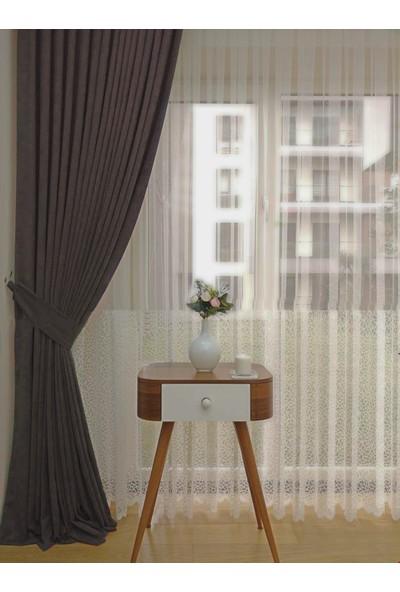 Caserta Home Düz Antrasit Gri Sık Pileli Tek Kanat Fon Perde - Melis Ada V12484