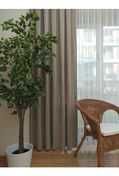 Caserta Home Düz Taş Sık Pileli Tek Kanat Fon Perde - Melis Ada V12480