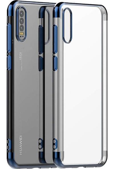 KNY Huawei P30 Kılıf 4 Köşe Renkli Şeffaf Laser Silikon + Cam Ekran Koruyucu