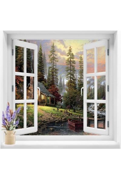 Dekoratifmarket Pencere Duvar Folyoları 120x120 cm 3 Boyutlu Resimli Pencere Duvar Folyosu
