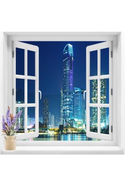 Dekoratifmarket Pencere Duvar Folyoları 120x120 cm Şehir Manzara Duvar Folyosu