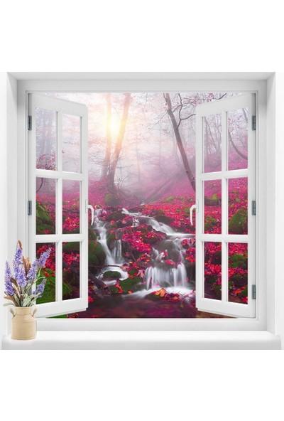 Dekoratifmarket Pencere Duvar Folyoları 120x120 cm Şelale Manzarası Duvar Folyosu