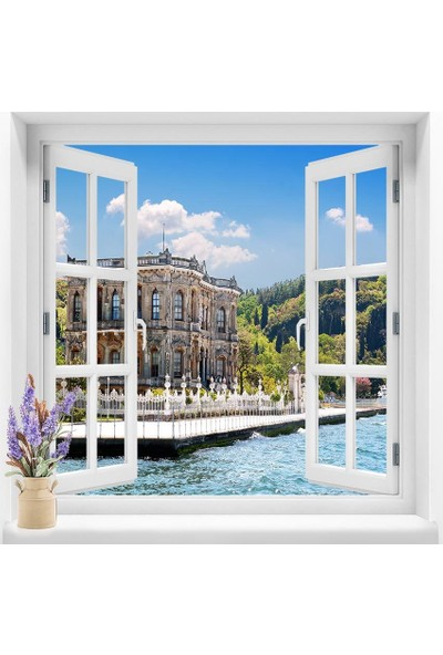 Dekoratifmarket Pencere Duvar Folyoları 120x120 cm Manzara Duvar Folyosu