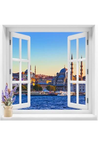 Dekoratifmarket Pencere Duvar Folyolarıı 120x120 cm Şehir Manzarası Duvar Folyoları