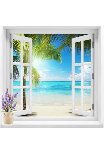 Dekoratifmarket Pencere Duvar Folyoları 120x120 cm Deniz Manzara Duvar Folyosu